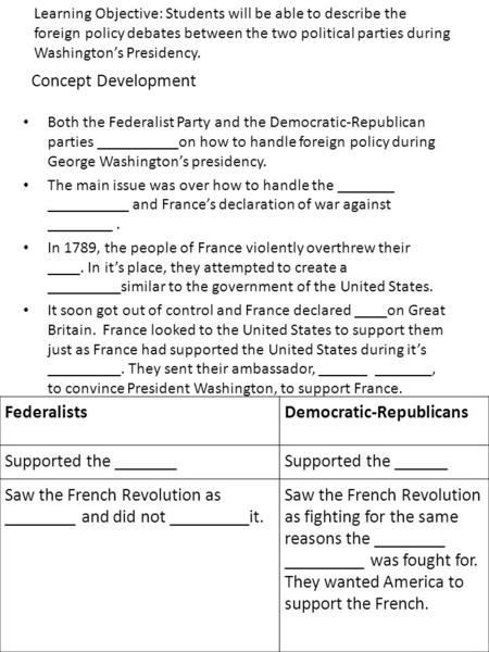 Concept Development Both the Federalist Party and the Democratic-Republican parties __________on how to handle foreign policy during George Washington's.
