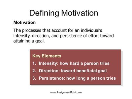 Defining Motivation Key Elements 1.Intensity: how hard a person tries 2.Direction: toward beneficial goal 3.Persistence: how long a person tries Key Elements.
