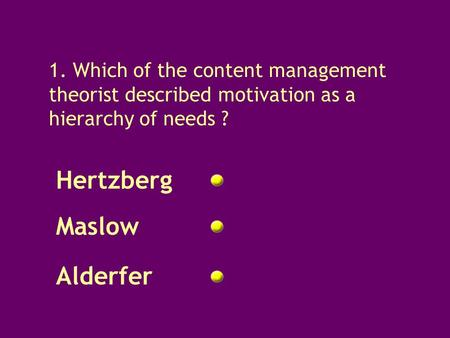 Question 1 1. Which of the content management theorist described motivation as a hierarchy of needs ? Hertzberg Maslow Alderfer.
