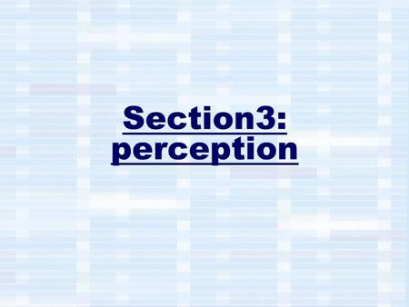 Section3: perception. perception: Definition The process by which people translate sensory impressions into a coherent view of the world around them.processimpressions.
