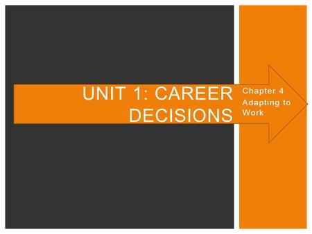 Chapter 4 Adapting to Work UNIT 1: CAREER DECISIONS.