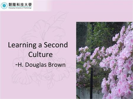 Learning a Second Culture -H. Douglas Brown