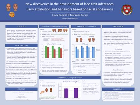 REFERENCES Harvard University Emily Cogsdill & Mahzarin Banaji New discoveries in the development of face-trait inferences: Early attribution and behaviors.