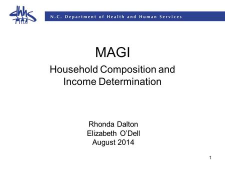1 MAGI Household Composition and Income Determination Rhonda Dalton Elizabeth O'Dell August 2014.
