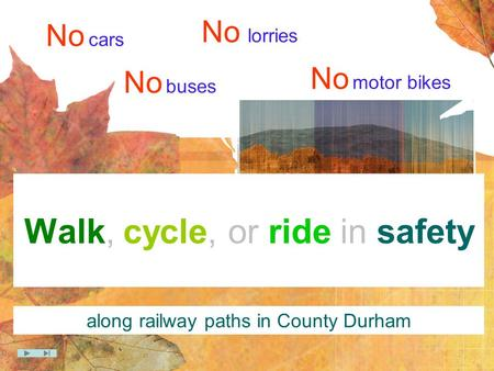 Walk, cycle, or ride in safety No cars No lorries No buses No motor bikes along railway paths in County Durham.