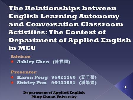 1 Advisor : Ashley Chen ( 陳祥頤 ) Presenter : Karen Peng 96421160 ( 彭千芸 ) Shirley Pan 96423681 ( 潘娟娟 ) Department of Applied English Ming Chuan University.