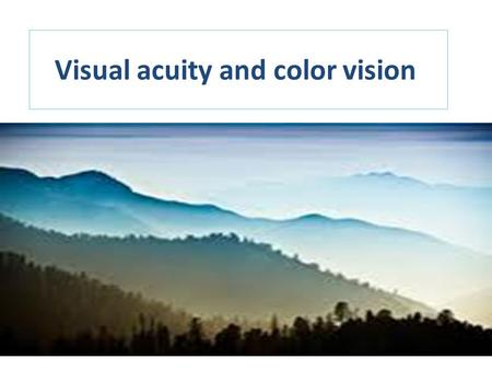 Visual acuity and color vision. Aims and Objectives Understand the principles behind vision testing Perform an accurate visual acuity To differentiate.