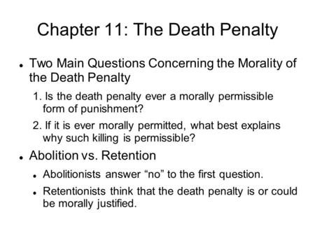 Chapter 11: The Death Penalty
