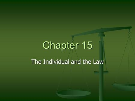 Chapter 15 The Individual and the Law. Functions of Laws 1)Help us to live 1)Help us to live peacefully 2)Teach us to deal with each other 3)Keep and.