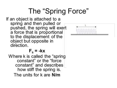 "The ""Spring Force"" If an object is attached to a spring and then pulled or pushed, the spring will exert a force that is proportional to the displacement."
