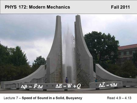 Fall 2011 PHYS 172: Modern Mechanics Lecture 7 – Speed of Sound in a Solid, Buoyancy Read 4.9 – 4.13.