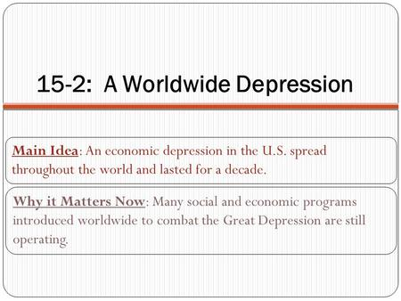 15-2: A Worldwide Depression Main Idea: An economic depression in the U.S. spread throughout the world and lasted for a decade. Why it Matters Now: Many.