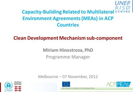 Capacity-Building Related to Multilateral Environment Agreements (MEAs) in ACP Countries Clean Development Mechanism sub-component Miriam Hinostroza, PhD.