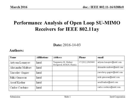 Doc.: IEEE 802.11-16/0388r0 Submission March 2016 Intel CorporationSlide 1 Performance Analysis of Open Loop SU-MIMO Receivers for IEEE 802.11ay Date: