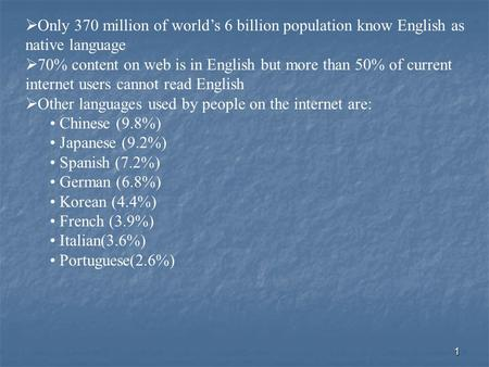 1  Only 370 million of world's 6 billion population know English as native language  70% content on web is in English but more than 50% of current internet.