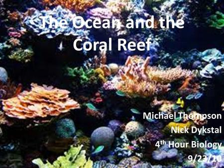 The Ocean and the Coral Reef Michael Thompson Nick Dykstal 4 th Hour Biology 9/23/10.