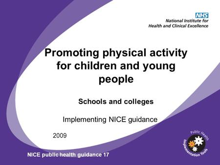 Promoting physical activity for children and young people Schools and colleges Implementing NICE guidance 2009 NICE public health guidance 17.