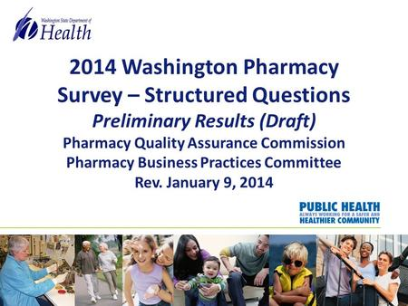 2014 Washington Pharmacy Survey – Structured Questions Preliminary Results (Draft) Pharmacy Quality Assurance Commission Pharmacy Business Practices Committee.