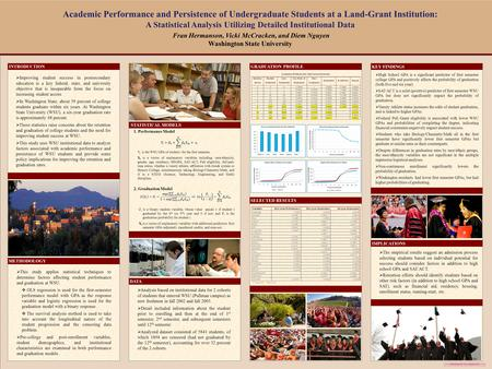 "Template provided by: ""posters4research.com"" Academic Performance and Persistence of Undergraduate Students at a Land-Grant Institution: A Statistical."