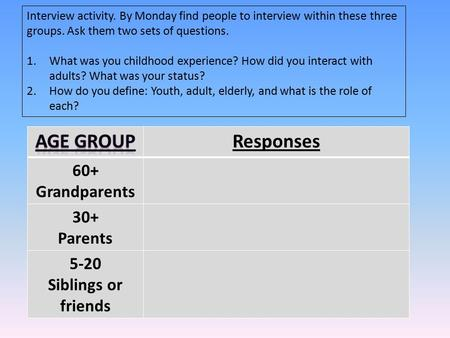 Interview activity. By Monday find people to interview within these three groups. Ask them two sets of questions. 1.What was you childhood experience?