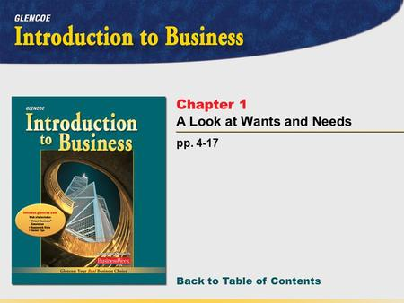 Back to Table of Contents pp. 4-17 Chapter 1 A Look at Wants and Needs.