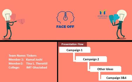 Team Name: Tinkers Member 1: Kamal Joshi Member2: Tina L. Therattil College: IMT Ghaziabad Presentation Flow Campaign 1 Campaign 2 Other Ideas Campaign.