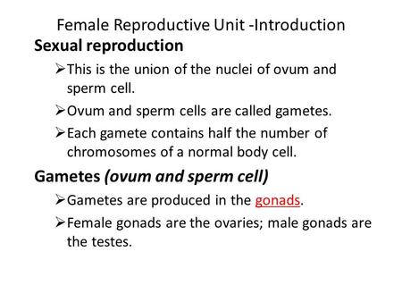 Female Reproductive Unit -Introduction