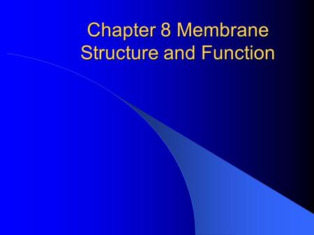 Chapter 8 Membrane Structure and Function. Fluid Mosaic Model Fluidity: P.Membrane (PM) held together by weak hydrophobic interactions Lateral drifting.