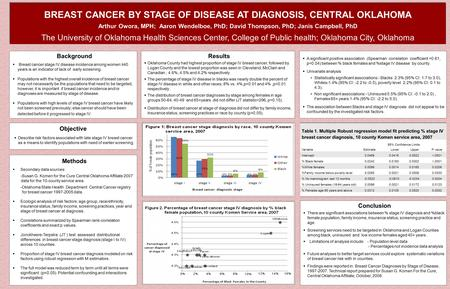 BREAST CANCER BY STAGE OF DISEASE AT DIAGNOSIS, CENTRAL OKLAHOMA Arthur Owora, MPH; Aaron Wendelboe, PhD; David Thompson, PhD; Janis Campbell, PhD The.