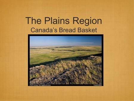 The Plains Region Canada's Bread Basket. Location (in Orange) located between the Cordillera(yellow) and the Canadian Shield (blue). includes the provinces.