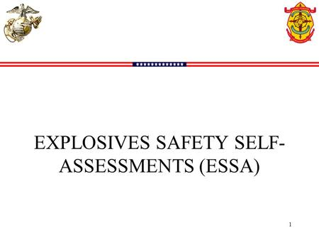 EXPLOSIVES SAFETY SELF- ASSESSMENTS (ESSA) 1. New schedule will be published every FY by September considering deployments, training events, etc. Our.