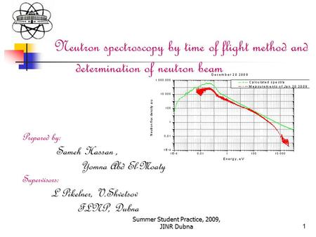 Summer Student Practice, 2009, JINR Dubna1 Neutron spectroscopy by time of flight method and determination of neutron beam Prepared by: Sameh Hassan, Yomna.