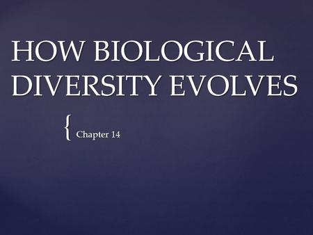 { HOW BIOLOGICAL DIVERSITY EVOLVES Chapter 14. { THE ORIGIN OF SPECIES Chapter 14.1.