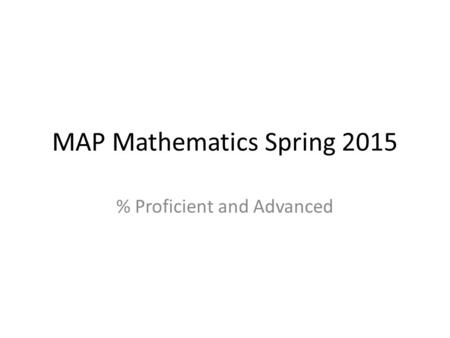 MAP Mathematics Spring 2015 % Proficient and Advanced.