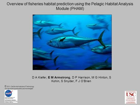D A Kiefer, E M Armstrong, D P Harrison, M G Hinton, S Kohin, S Snyder, F J O'Brien Overview of fisheries habitat prediction using the Pelagic Habitat.