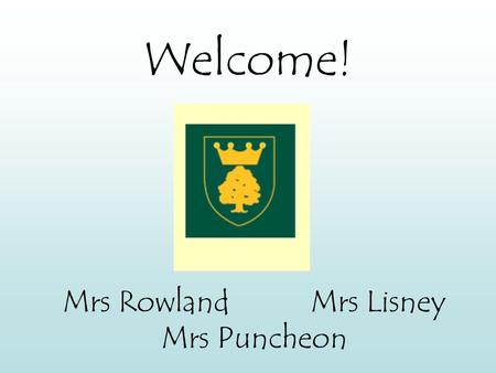 Welcome! Mrs RowlandMrs Lisney Mrs Puncheon. Expectations Children are expected to follow the school's classroom rules which are on display in every room.