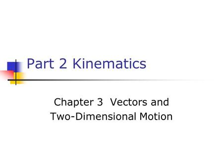 Part 2 Kinematics Chapter 3 Vectors and Two-Dimensional Motion.