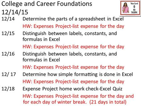 College and Career Foundations 12/14/15 12/14 Determine the parts of a spreadsheet in Excel HW: Expenses Project-list expense for the day 12/15Distinguish.