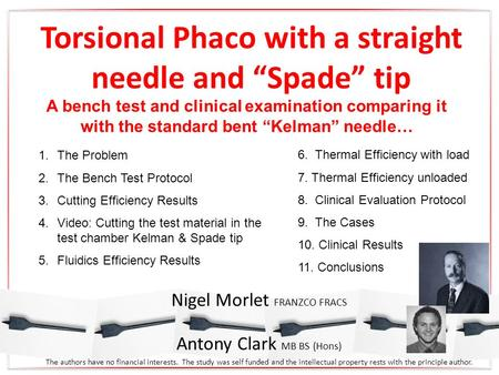 "Torsional Phaco with a straight needle and ""Spade"" tip A bench test and clinical examination comparing it with the standard bent ""Kelman"" needle… Nigel."