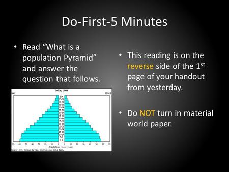 "Do-First-5 Minutes Read ""What is a population Pyramid"" and answer the question that follows. This reading is on the reverse side of the 1 st page of your."