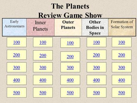 100 200 300 400 500 100 200 300 400 500 100 200 300 400 500 The Planets Review Game Show 100 200 300 400 500 100 200 300 400 500 Early Astronomers Inner.