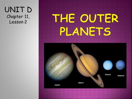 UNIT D Chapter 11, Lesson 2. UNIT D Chapter 11, Lesson 2 1.Mercury 2.Venus 3.Earth 4.Mars.