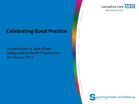 Network Name Celebrating Good Practice Louise Burton & Jane Bhatti Safeguarding Health Practitioners 24 January 2012.