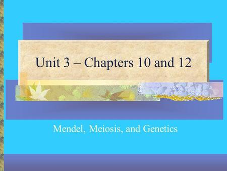 Unit 3 – Chapters 10 and 12 Mendel, Meiosis, and Genetics.