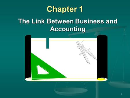 1 Chapter 1 The Link Between Business and Accounting.