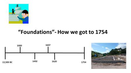 """Foundations""- How we got to 1754 13,500 BC1754 1000 1492 1607 1620."