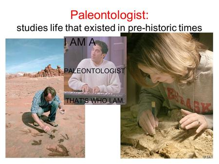 Paleontologist: studies life that existed in pre-historic times.