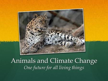 Animals and Climate Change One future for all living things.