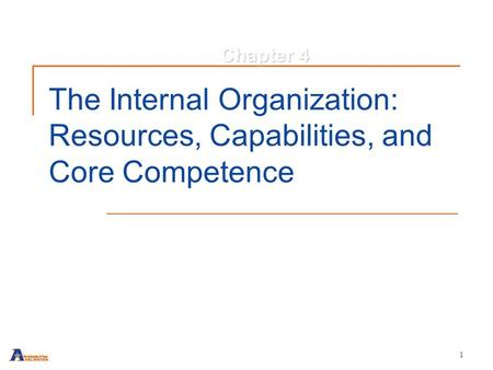 1 The Internal Organization: Resources, Capabilities, and Core Competence Chapter 4.