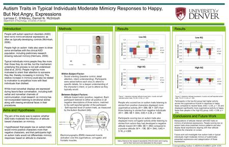 Autism Traits in Typical Individuals Moderate Mimicry Responses to Happy, But Not Angry, Expressions Larissa C. D'Abreu, Daniel N. McIntosh Department.